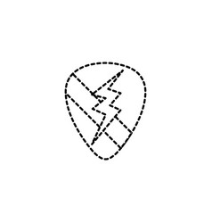 dotted shape rock emblem with thunder symbol vector image