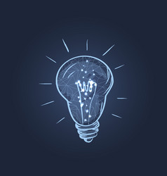 glowing electric bulb icon vector image
