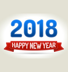 2018 - happy new year- red ribbon with shadow on vector image vector image