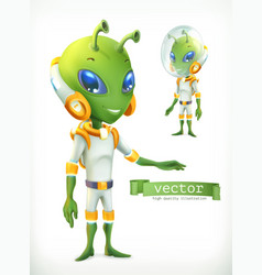 alien in spacesuit funny character icon 3d vector image