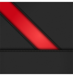 Black leather diagonal panels background on red vector