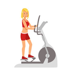 blond woman working out using elliptical trainer vector image
