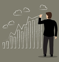 Businessman drawing positive trend graph vector image