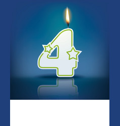 Candle number 4 with flame vector image