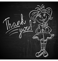 contour drawing girl with flower says thank you vector image vector image