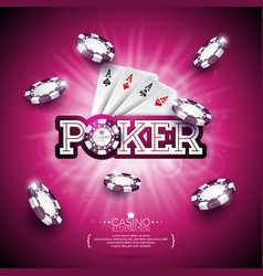 On a casino theme with color playing chips poker vector