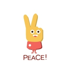 Peace Gesture Word And Corresponding vector image