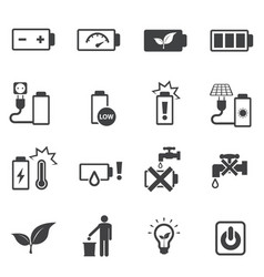 prohibition and instruction of battery icons set vector image vector image