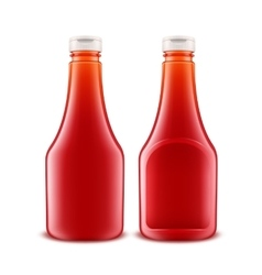 Set of Glass Plastic Red Tomato Ketchup Bottle vector image vector image