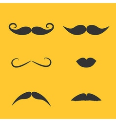 Set of mustaches and lips on yellow background vector image