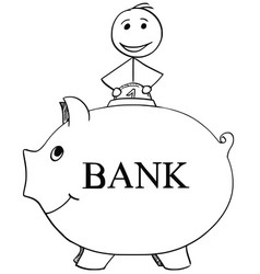 smiling man inserting coin in to piggy bank vector image