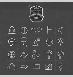 social media network doodle line icon set vector image