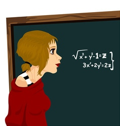 student with chalkboard vector image vector image