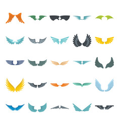 wings set on white background heraldic flat wings vector image vector image