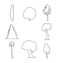 wood outline set vector image vector image