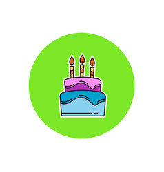 birthday cake with burning candles vector image