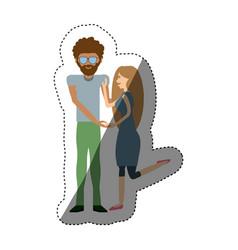 couple romantic relationship shadow vector image vector image