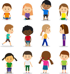 Cute kids characters vector image vector image