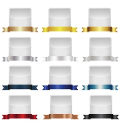 Empty label set with metallic ribbons vector image vector image