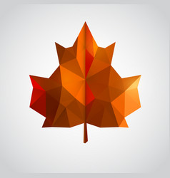 low poly orange leaf vector image