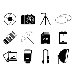Photo icons accessories set vector