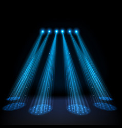 blue spotlights on dark background vector image vector image