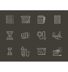 Business white line icons vector image vector image