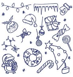 Doodle christmas set vector