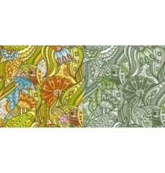 Green Patterns with Owls in the Forest vector image