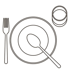 Place setting with plate spoon fork and glass vector image vector image