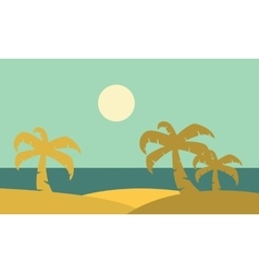 silhouette of plam landscape vector image