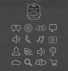 social media hand drawn sketch icon set vector image vector image