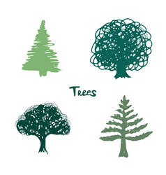 trees green silhouette inked hand drawn isolated vector image vector image
