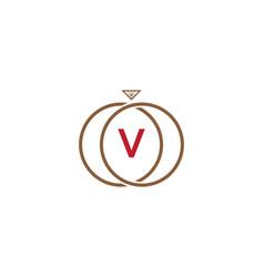 v letter ring diamond logo vector image