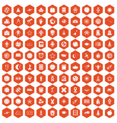 100 astronomy icons hexagon orange vector