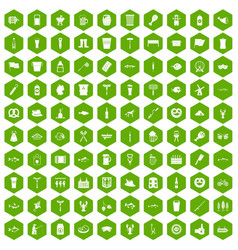 100 beer icons hexagon green vector