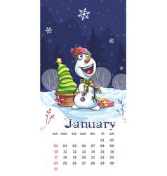 2021 calendar january funny cartoon snowman vector