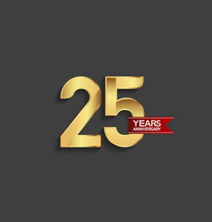 25 years anniversary simple design with golden vector