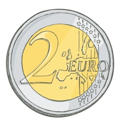 2euro coin sketch vector image