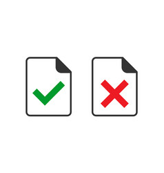 Accept document icon in flat style reject on vector