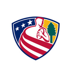 American rugby union player badge vector
