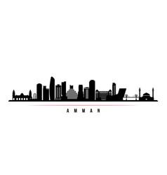 Amman skyline horizontal banner black and white vector