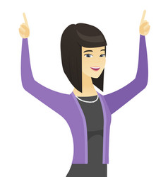 Asian business woman standing with raised arms up vector