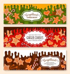 Banners set gingerbread cookies bakery vector