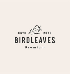 bird leaf hipster vintage logo icon vector image