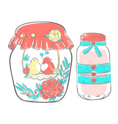 birds in love in jar decorated with flowers vector image