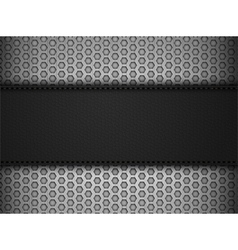 Black leather panel on black mesh landscape vector image