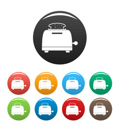 bread toaster icons set color vector image