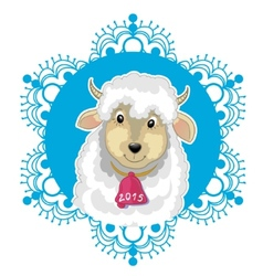 Card with blue snowflake and little cute sheep vector image