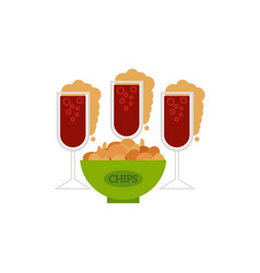 Cartoon glass of drink potato chips snack vector